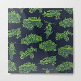 On the Go Green & Blue Transportation Metal Print