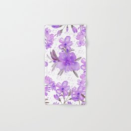 Watercolor lavender lilac brown modern floral Hand & Bath Towel