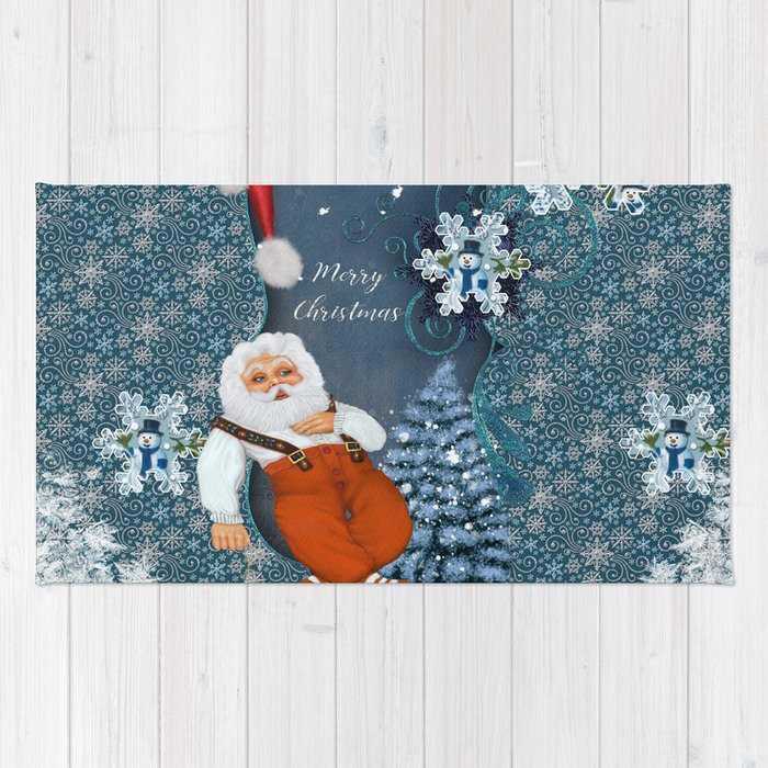 Funny Santa Claus with snowman Rug