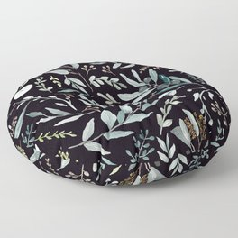 Black Eucalyptus Pattern Floor Pillow