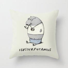 Hipsterpotamus Throw Pillow