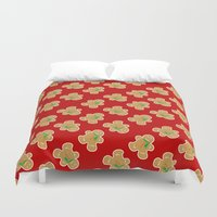 men Duvet Covers featuring Gingerbread Men by Jessica's Illustrationart