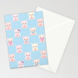 Cute Teddy Bear Seamless Vector Pattern Design Stationery Cards