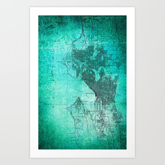 Turquoise Seattle Map Design Art Print