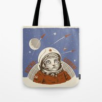 soviet Tote Bags featuring Soviet Space Cat by Chris Kawagiwa