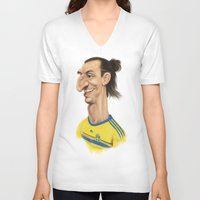 zlatan V-neck T-shirts featuring Ibrahimovic - Sweden by Sant Toscanni
