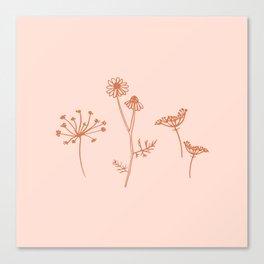 Wildflower Line Art Canvas Print