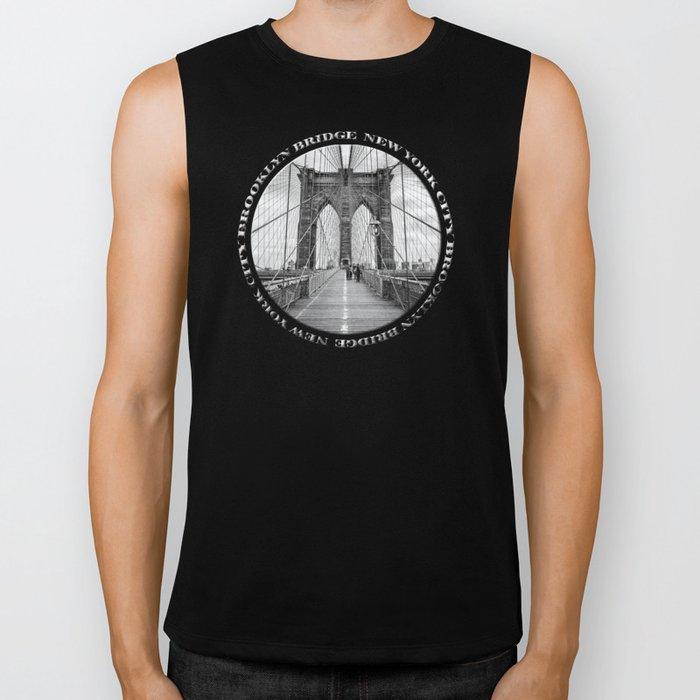 Brooklyn Bridge New York City (black & white badge emblem) Biker Tank