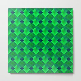 Fashionable large plaids from small green intersecting squares in a dark cage. Metal Print