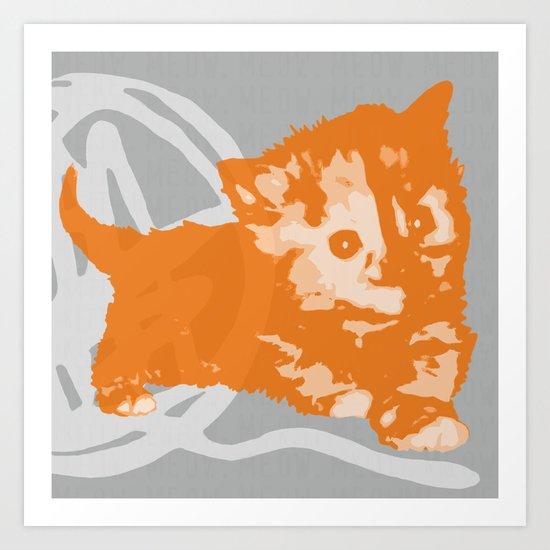 Here Kitty, Kitty - Bright Orange/Grey Art Print