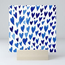 Valentines day hearts explosion - blue Mini Art Print