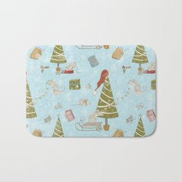 From Mice And Christmas-Cute teal X-Mas Pattern Bath Mat