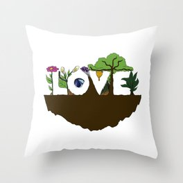 Love for Nature in Negative Space Throw Pillow