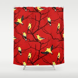 Goldfinches in the Branches Yellow and Red Shower Curtain
