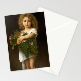"""Gustave Doyen and William Adolphe Bouguereau """"Enfant tenant des fleurs (Child with flowers)"""" Stationery Cards"""