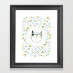 Calico Cat with a Flower Crown Framed Art Print