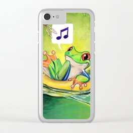 Lazy River Frog Clear iPhone Case