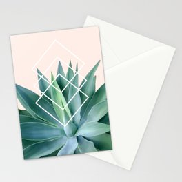 Agave geometrics - peach Stationery Cards