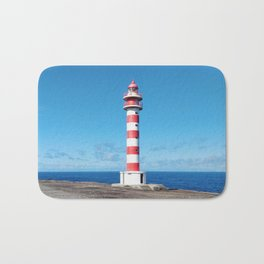 Striped Lighthouse in Gran Canaria Overlooking the Atlantic Ocean Bath Mat