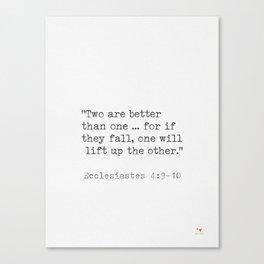 Bible quote Ecclesiastes 4:9-10 Canvas Print