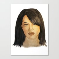 aaliyah Canvas Prints featuring Aaliyah by Nina Bryant Studio