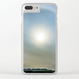 Plane in the Sun circle Clear iPhone Case