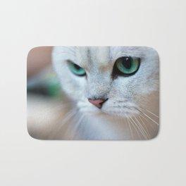 British shorthair silver shaded chinchilla cat Bath Mat
