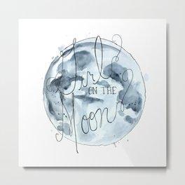 girl on the moon Metal Print