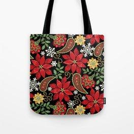 Christmas Poinsettia Paisley Tote Bag