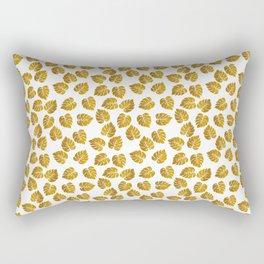 Gold Metallic Foil Photo-Effect Monstera Giant Tropical Leaves Rectangular Pillow