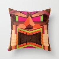 tiki Throw Pillows featuring Tiki by Cimone Key