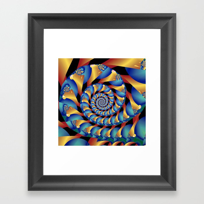 Archimedes Blue Gold Tangent Framed Art Print By