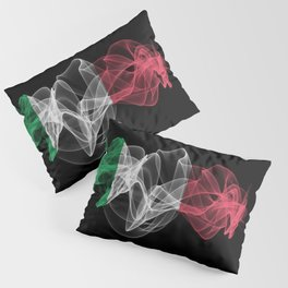 Italy Smoke Flag on Black Background, Italy flag Pillow Sham