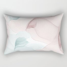 Blush and Blue Flowing Abstract Painting Rectangular Pillow