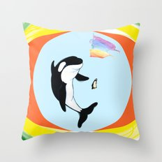 Best Friends Forever Whale and Penguin Throw Pillow