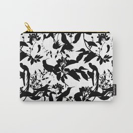 Black And White Tropical Birds And Flowers Silhouettes Carry-All Pouch