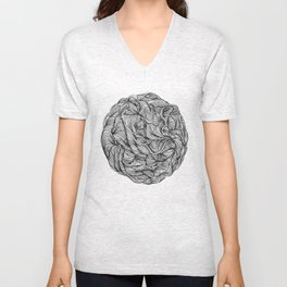 Abstract black and white organic line drawing doodle ball Unisex V-Neck