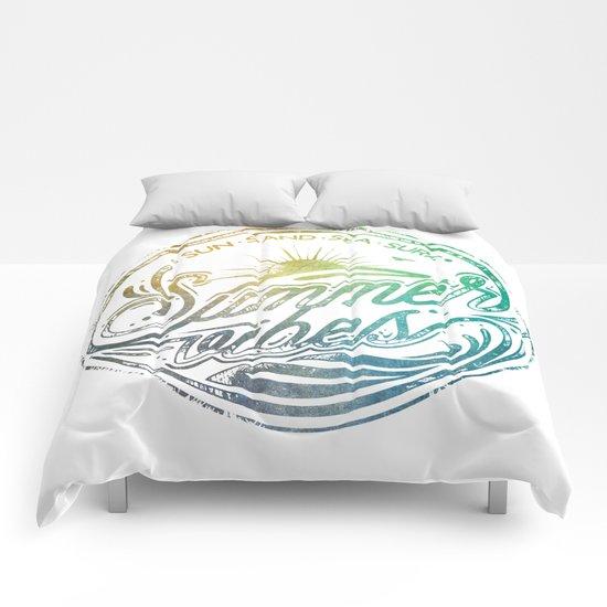 Summer vibes - typo artwork Comforters