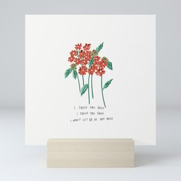 I Touch You Once I Touch You Twice Red Flower Illustration If You Leave Lyric Mini Art Print