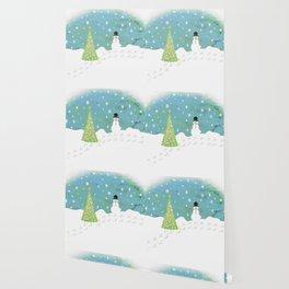 Snowman on Christmas Day Wallpaper