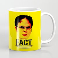 "dwight schrute Mugs featuring Dwight Schrute ""FACT"" by Silvio Ledbetter"
