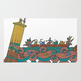 Puerto Morelos Light House (Antique Mexican Style) Rug