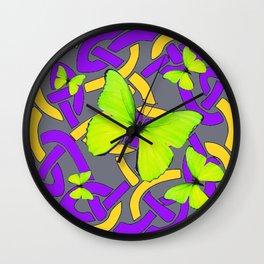Lime Yellow Butterflies Purple-grey-gold Celtic Art Wall Clock