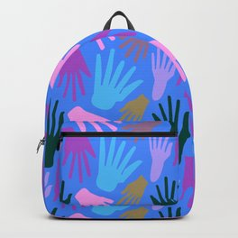 Minimalist Hands in Blue Backpack