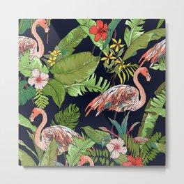 Pink Flamingos, Tropical Flowers, and Jungle Leaves Metal Print