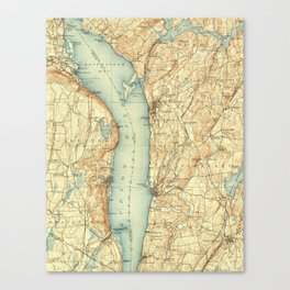 Vintage Map of Tarrytown NY & The Hudson River Canvas Print