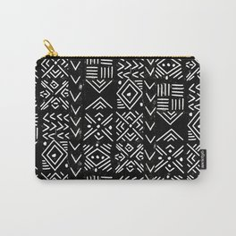 Mudcloth 3 black and white minimal pattern linocut print abstract Carry-All Pouch
