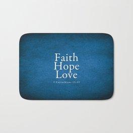 Faith. Hope. Love. (Blue) - Bible Lock Screens Bath Mat