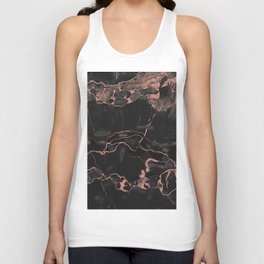 Black Marble and Rose Gold Unisex Tank Top
