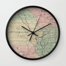 Vintage Midwestern United States Railroad Map Wall Clock